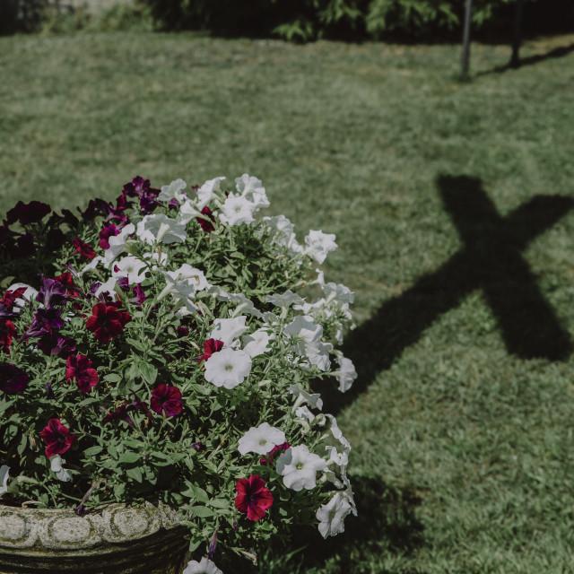 """holy cross shadow near the church"" stock image"