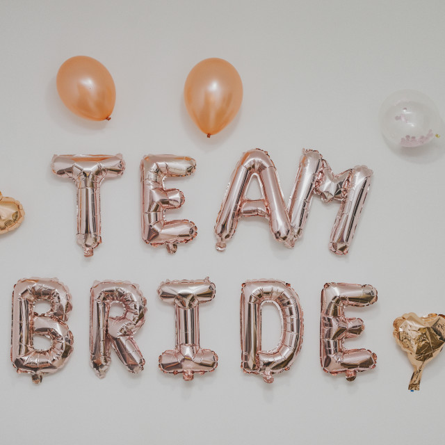 """""""inscription on the wall - team Bride, bachelorette party"""" stock image"""