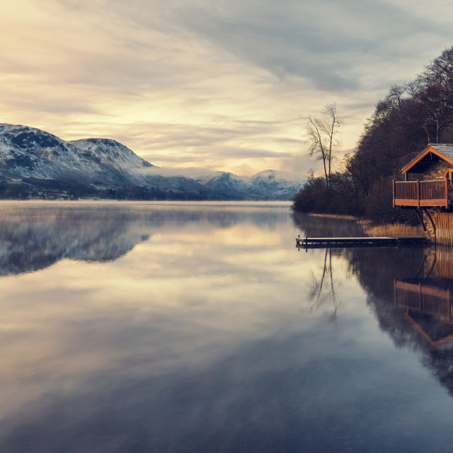 """Sunrise at ullswater"" stock image"