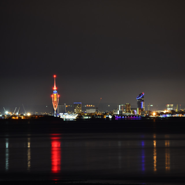 """Spinnaker Tower and Portsmouth City Skyline at Night"" stock image"