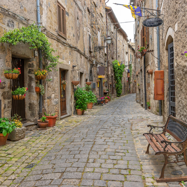 """""""Beautiful alley in Bolsena, Old town, Italy"""" stock image"""