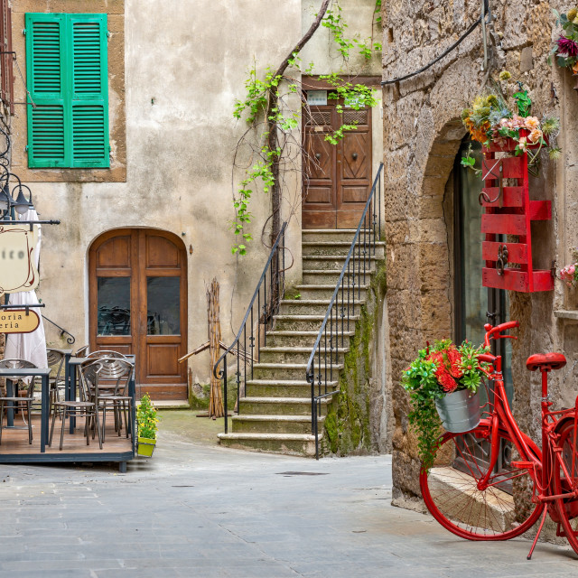 """""""Beautiful alley in Tuscany, Old town, Italy"""" stock image"""