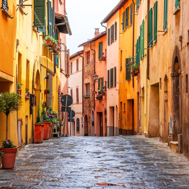 """""""Beautiful alley in Tuscany, Old town Montepulciano, Italy"""" stock image"""