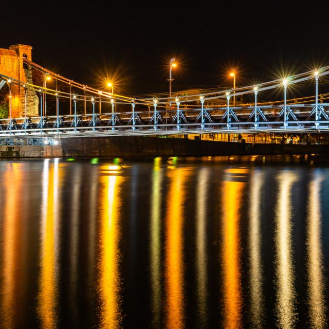 """Wroclaw city at night, Grunwaldzki Bridge, Poland, Europe"" stock image"