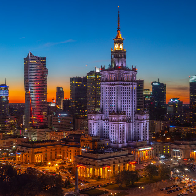 """City Center of Warsaw at night, Poland, Europe"" stock image"