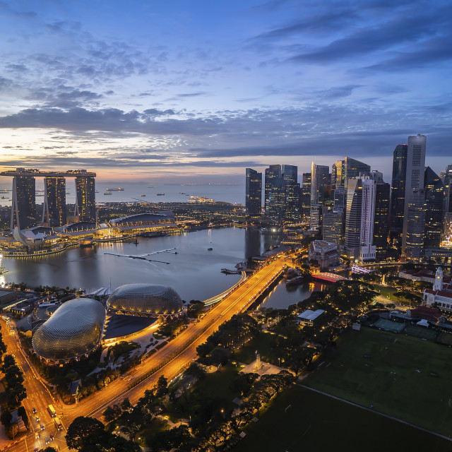 """Singapore landmark city skyline at the Marina bay during sunrise"" stock image"