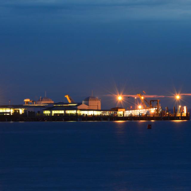 """Twilight at Ryde Pier Head"" stock image"