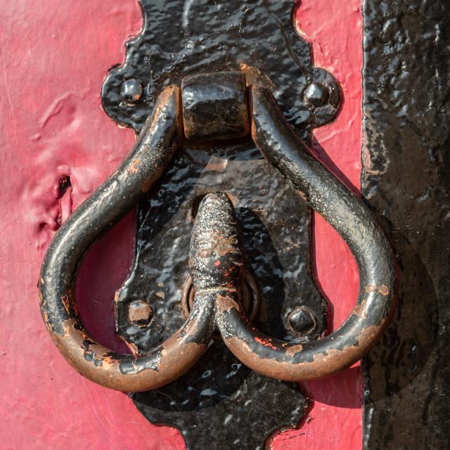 """""""Vintage metallic door handle"""" stock image"""