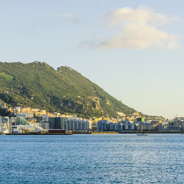 """Gibraltar rock, overseas british territory"" stock image"
