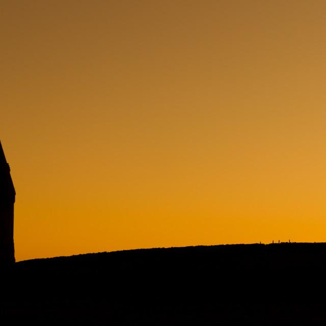 """Hartshead Pike silhouette."" stock image"