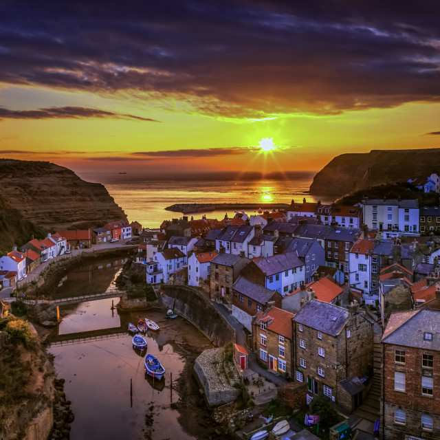 """Sunrise at Staithes Harbour-5654"" stock image"