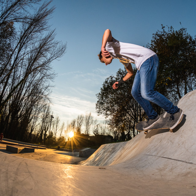 """""""Skateboarder on wall turn"""" stock image"""