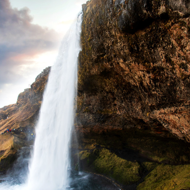 """Seljalandsfoss waterfall scenic spot in Iceland famous"" stock image"