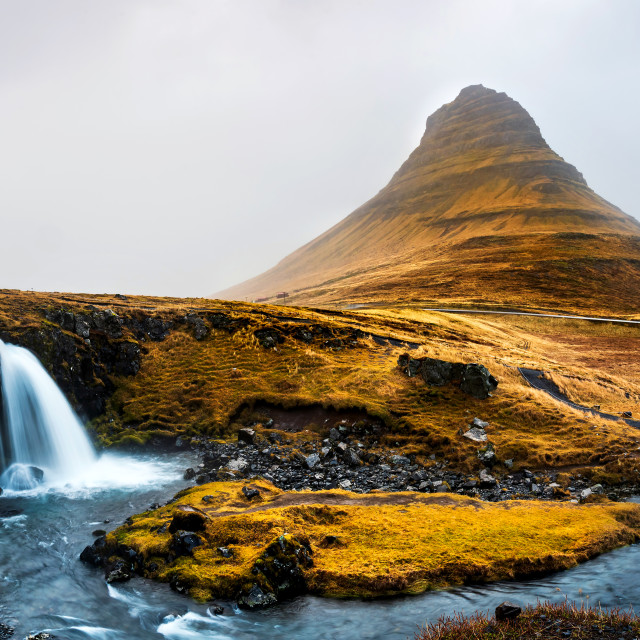 """Kirkjufellsfoss waterfal in Snaefellsnes peninsula of Iceland"" stock image"