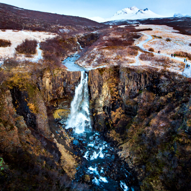 """Svartifoss waterfall in Vatnajokull national park in Iceland aerial view"" stock image"