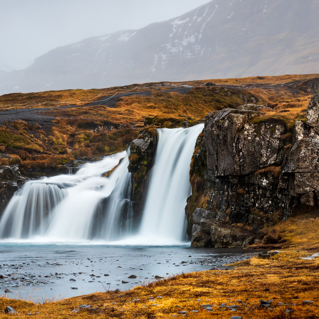 """Kirkjufellsfoss waterfal in Snaefellsnes peninsula of Iceland"" stock image"
