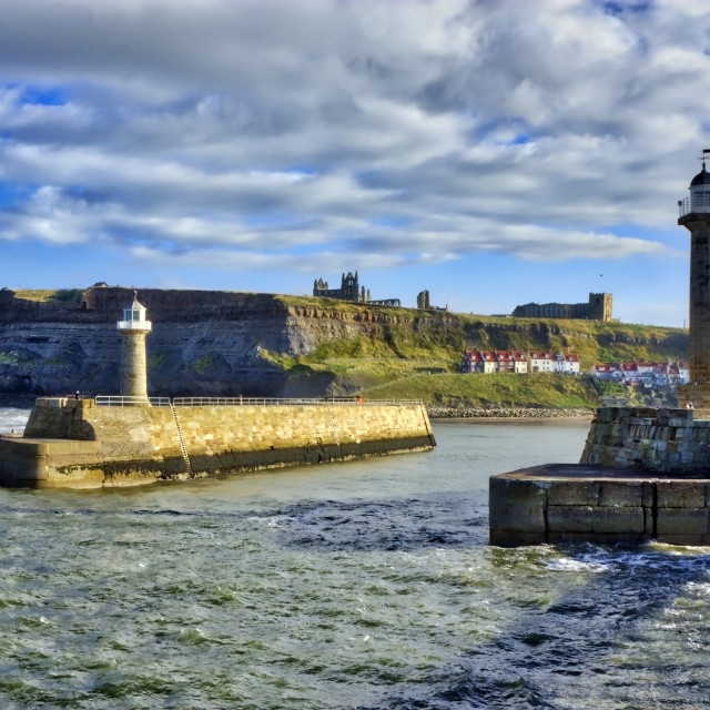 """Whitby Harbourmouth"" stock image"