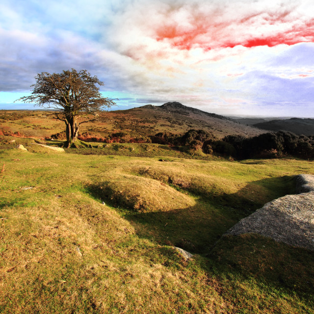 """""""Blood Red Sky over Dartmoor"""" stock image"""
