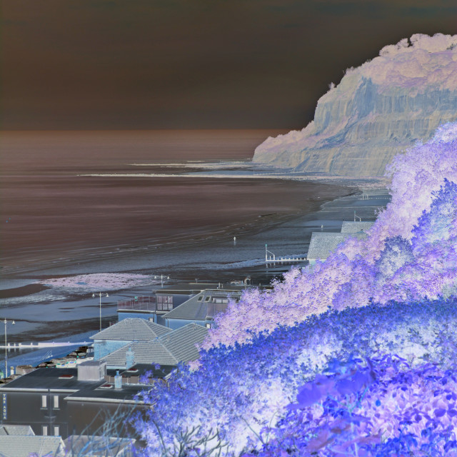 """View of the Bay and Cliffs at Shanklin (Inverted Colour)"" stock image"