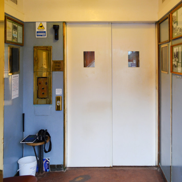 """""""Inside an Old Fashioned Lift"""" stock image"""
