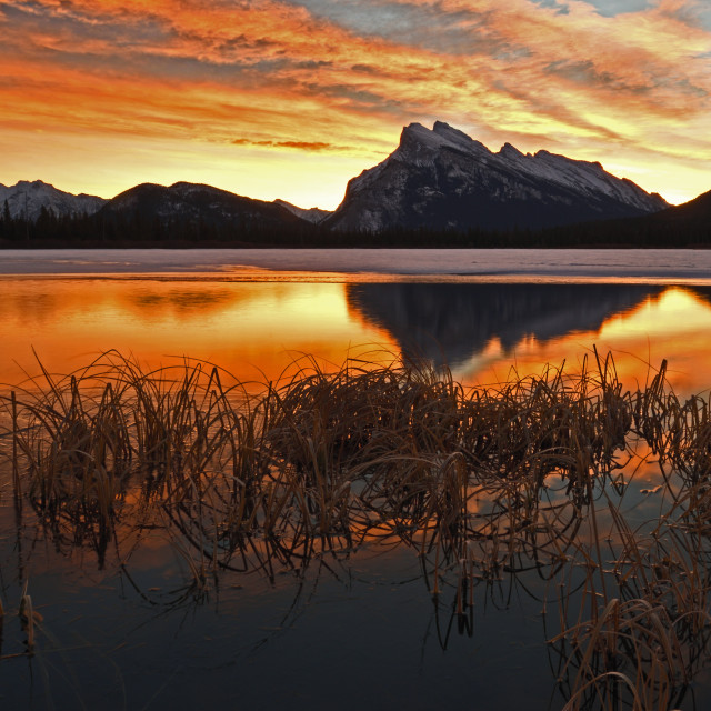 """Vermillion Lake Sunrise"" stock image"