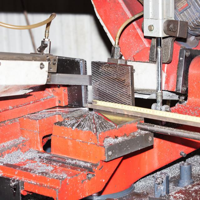 """machine saw metal bars"" stock image"