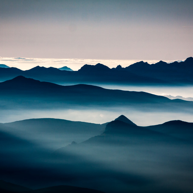 """Sunset, Pic du Midi, Pyrenees, France"" stock image"