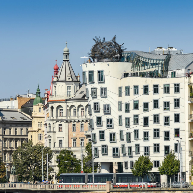 """The Nationale-Nederlanden building in Prague aka ""Dancing House"" or ""Fred and Ginger"""" stock image"