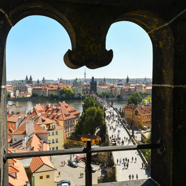 """Aerial view of the Charles Bridge in Prague"" stock image"