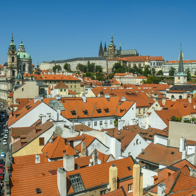 """Old Town in Prague with St Vitas Cathedral and Prague Castle"" stock image"