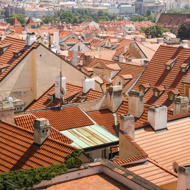 """""""Rooftop view of houses in the Old Town in Prague"""" stock image"""