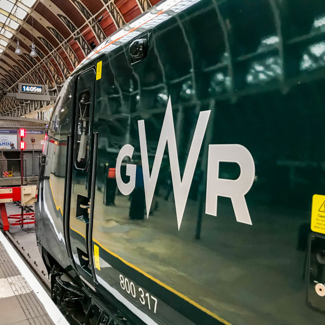 """Logo on the side of a new inter city train operated by Great Western Railway"" stock image"