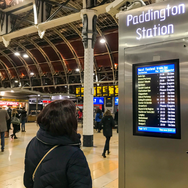 """Person checking a departures display screen at London Paddington Station."" stock image"