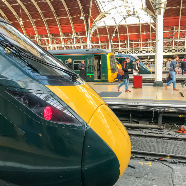 """New Great Western Railway locomotive at London Paddington Station"" stock image"
