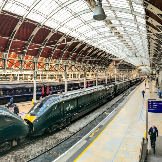 """new Great Western Railway inter city train at London Paddington Station."" stock image"