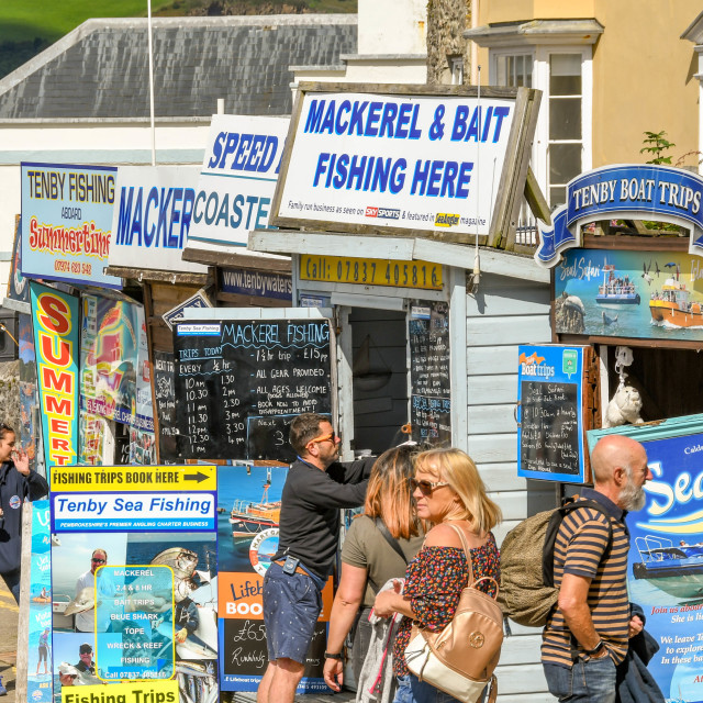 """""""People looking at information on boat trips in Tenby, West Wales."""" stock image"""