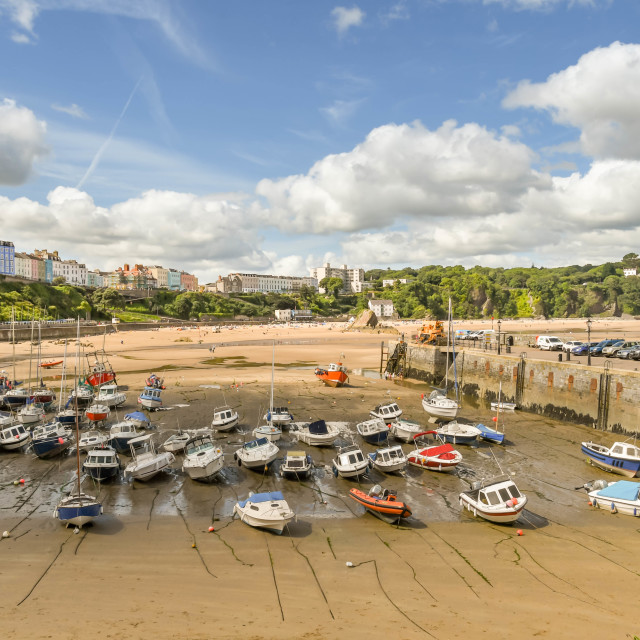 """""""The harbour in Tenby, West Wales, at low tide"""" stock image"""