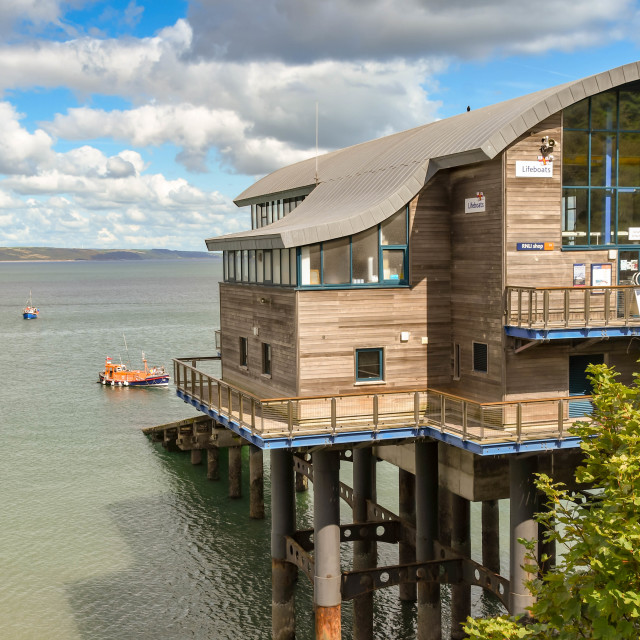 """""""The new RNLI lifeboat station in Tenby, West Wales."""" stock image"""