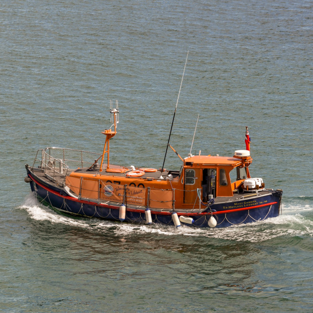 """""""The old lifeboat RNLB Mary Gabriel of Tenby, West Wales"""" stock image"""