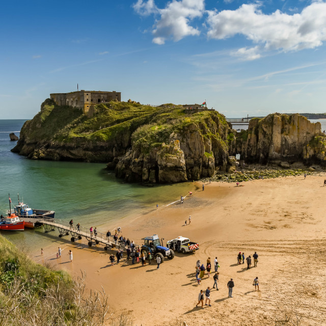 """""""Castle Beach and St Catherine's Island in Tenby, West Wales"""" stock image"""