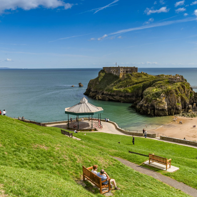 """""""Castle Beach and St Catherine's Island in Tenby, West Wales."""" stock image"""