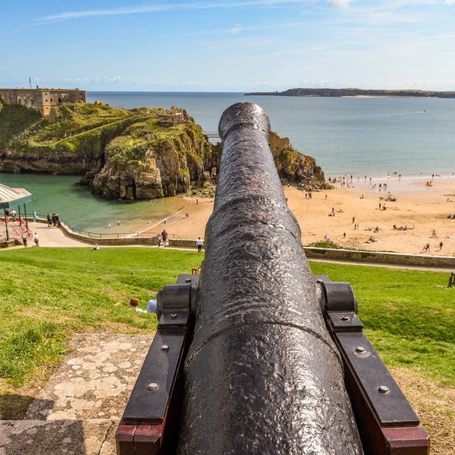 """""""Barrel of an old cannon in Tenby, West Wales."""" stock image"""