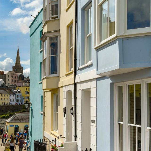 """""""Painted houses in Tenby, West Wales."""" stock image"""