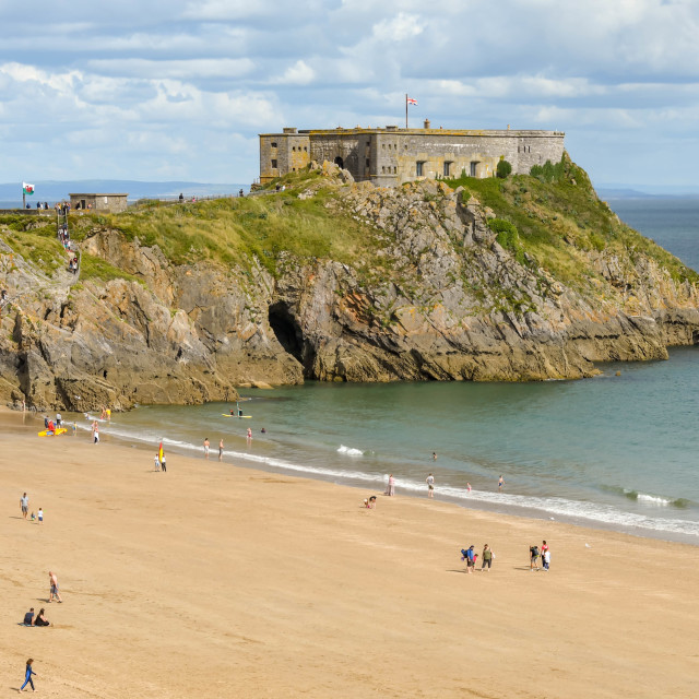 """""""St Catherine's Island and Castle Beach in Tenby, West Wales."""" stock image"""