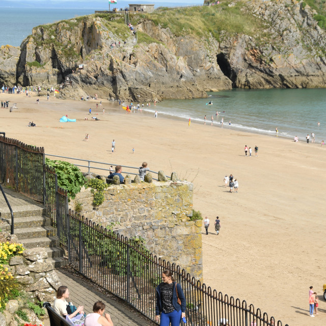 """""""People with dogs talking on part of the promenade in Tenby, West Wales."""" stock image"""