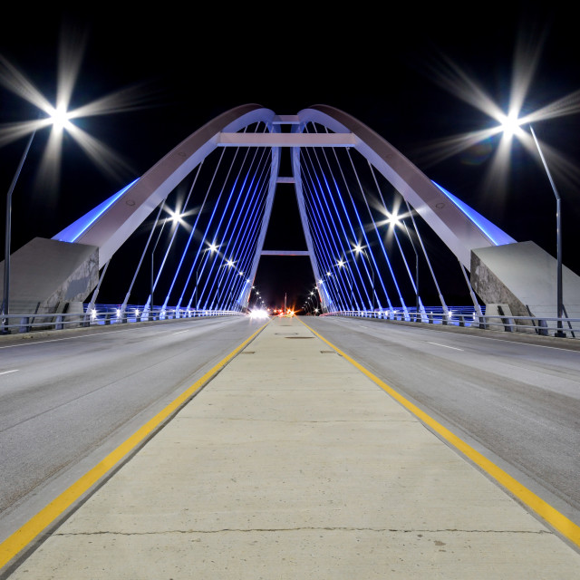 """Lowry Ave Bridge Minneapolis, Minnesota at night"" stock image"