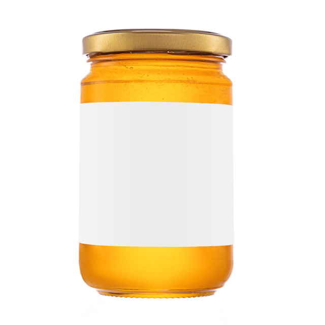 """Honey jar isolated on white background with clipping path"" stock image"