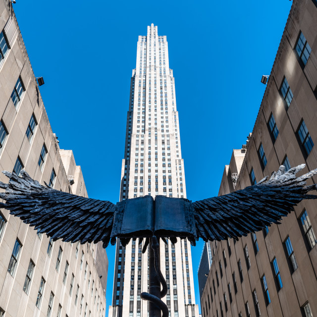 """""""Low angle view of Rockefeller Center in Manhattan in NYC"""" stock image"""