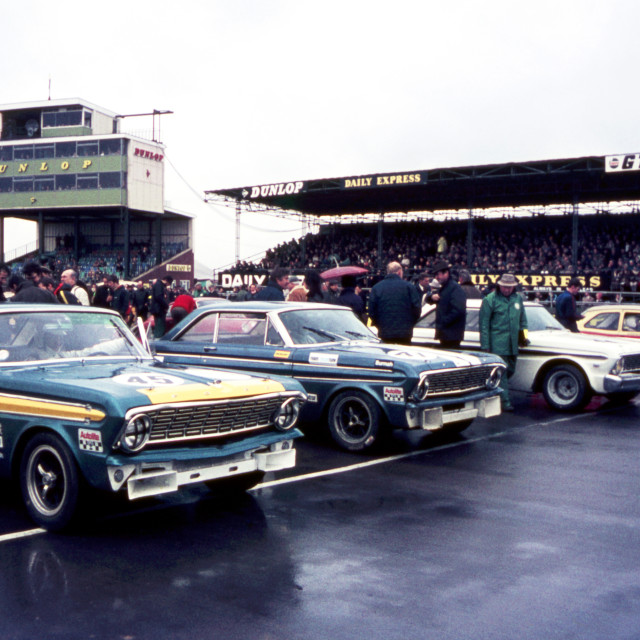 """Saloon Car Grid Silverstone 1969"" stock image"