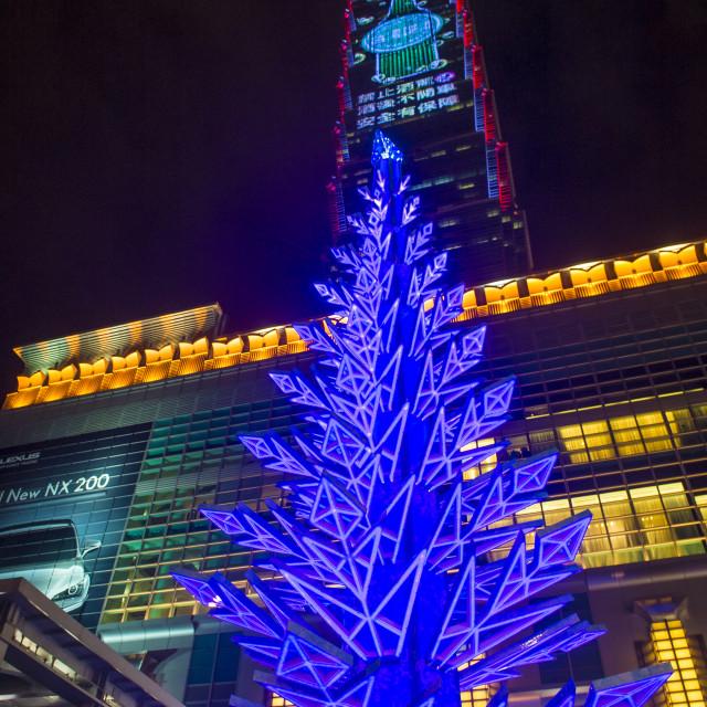 """""""Taipei, Taiwan Christmas lights"""" stock image"""